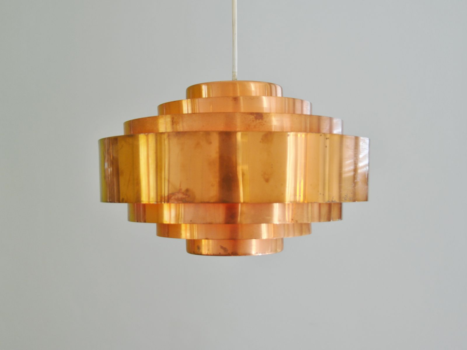 Orange hanging lamp - Copper And Orange Ultra Hanging Lamp By Jo Hammerborg For Fog And M Rup