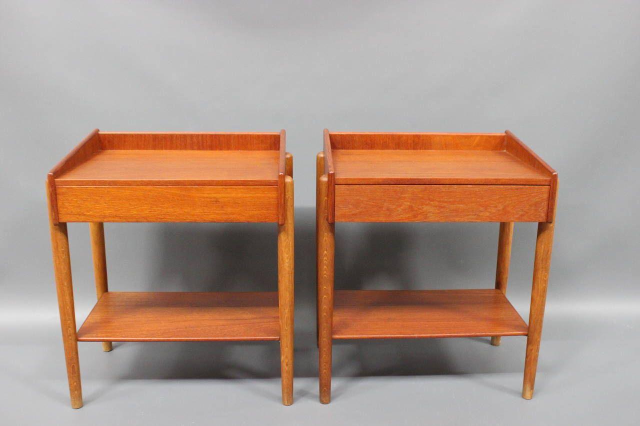 Teak & Oak Bedside Tables by Børge Mogensen for Søborg