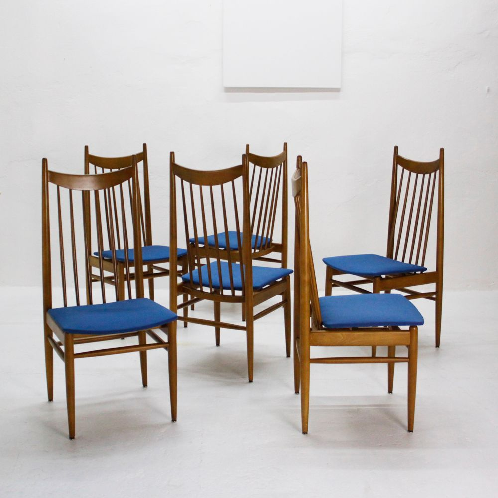 Walnut dining chairs 1950s set of 6 for sale at pamono for Set of 6 dining chairs