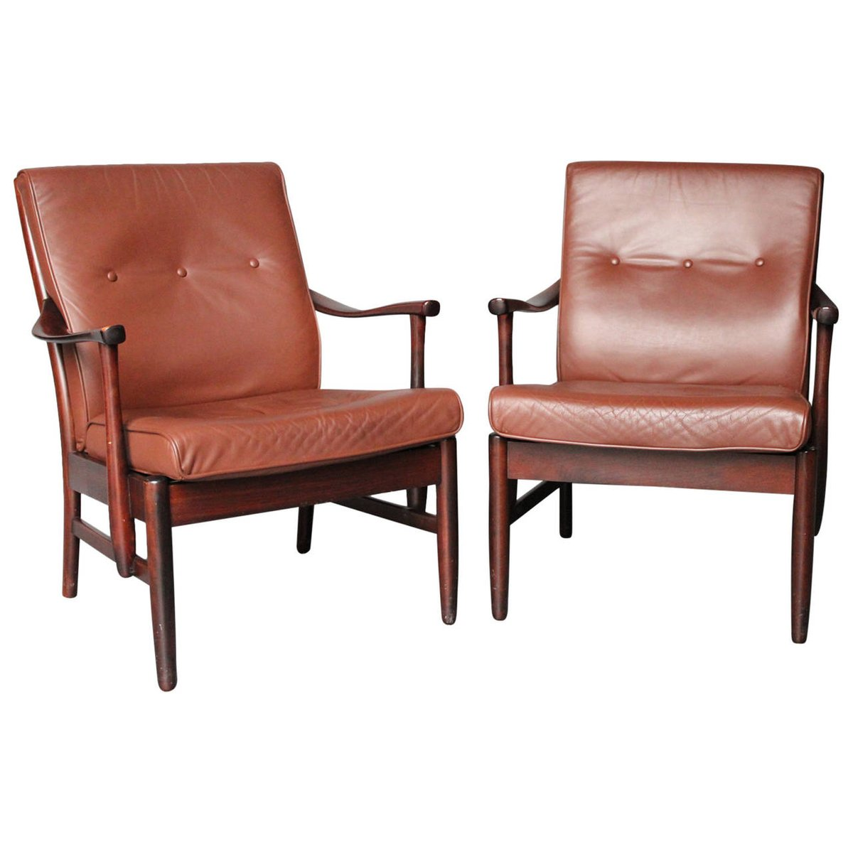 Polished Mahogany Armchairs 1960s Set Of 2 For Sale At