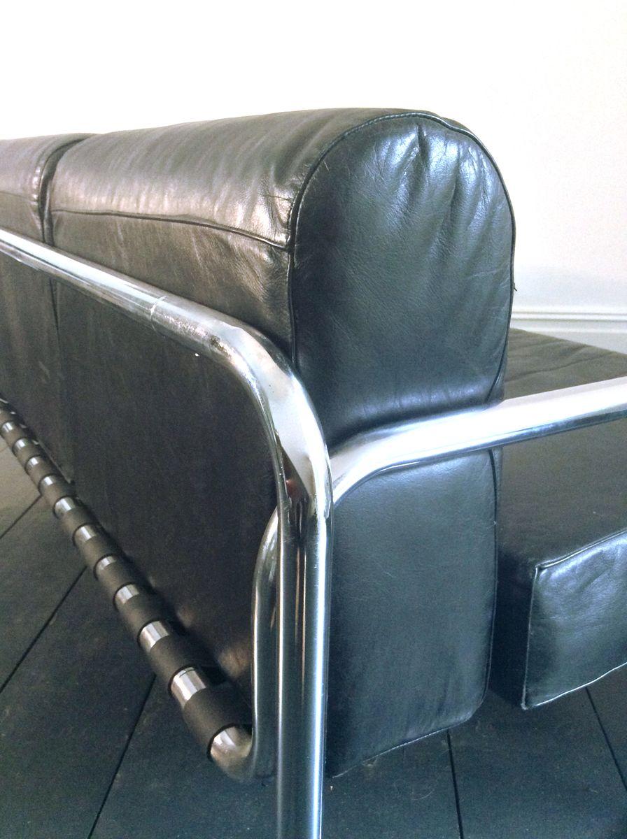 Leather amp Chrome Sofa By Rodney Kinsman For OMK 1970s