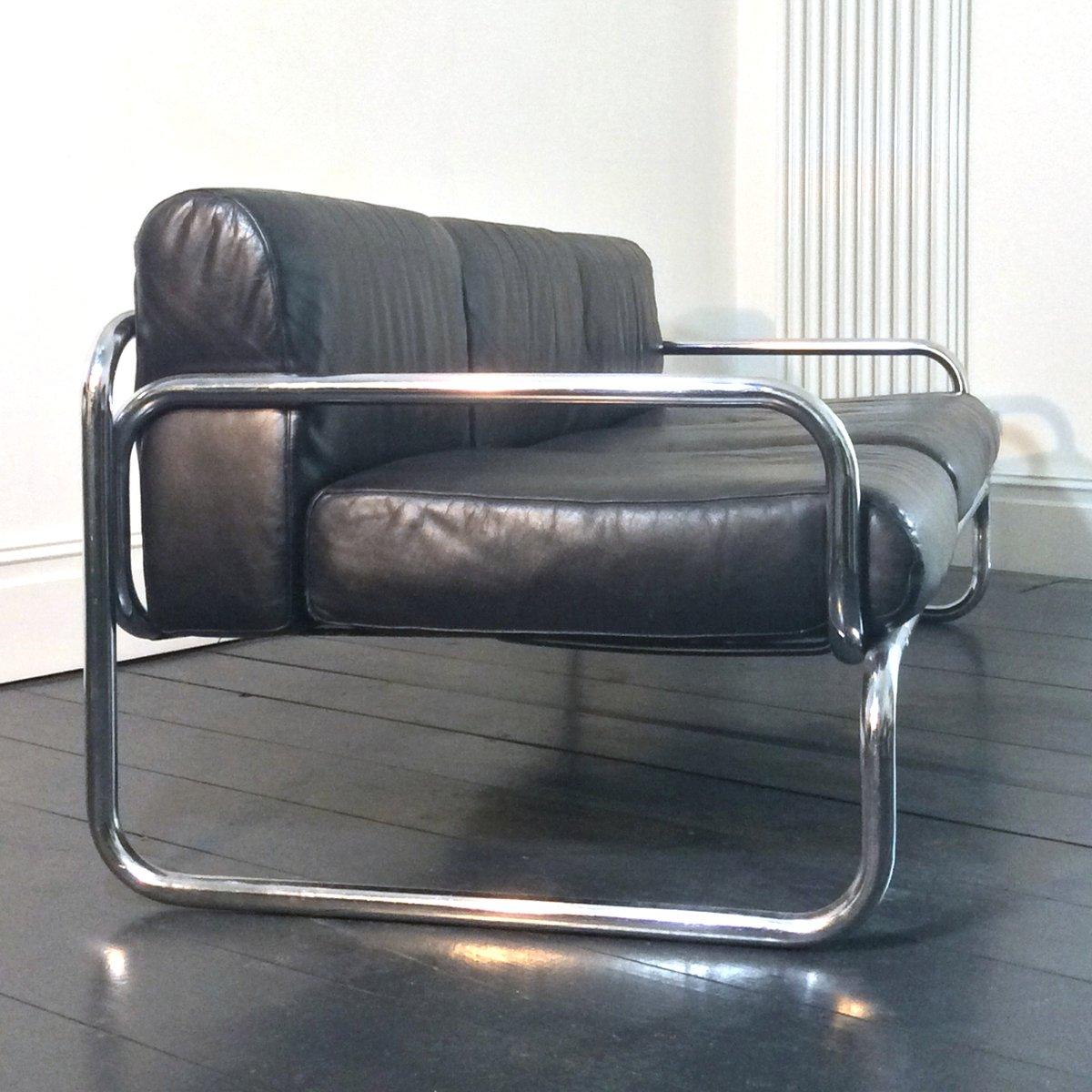 leder chrom sofa von rodney kinsman f r omk 1970er bei pamono kaufen. Black Bedroom Furniture Sets. Home Design Ideas