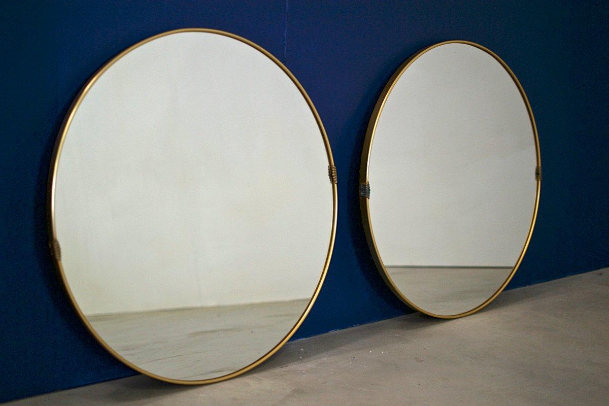 gro e runde messing spiegel aus metall 2er set bei pamono kaufen. Black Bedroom Furniture Sets. Home Design Ideas