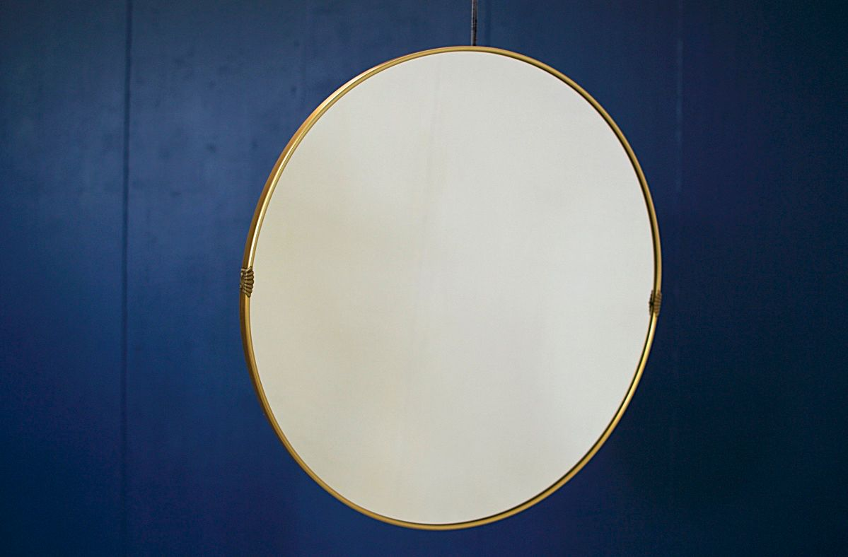 gro e runde messing spiegel aus metall 2er set bei pamono. Black Bedroom Furniture Sets. Home Design Ideas