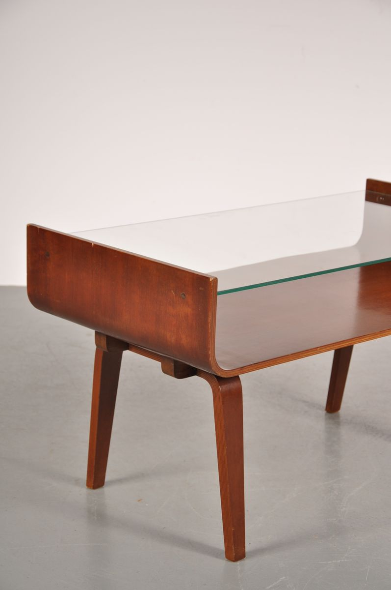 Plywood Coffee Table With Glass Top By Cor Alons For Gouda De Boer 1950s For Sale At Pamono