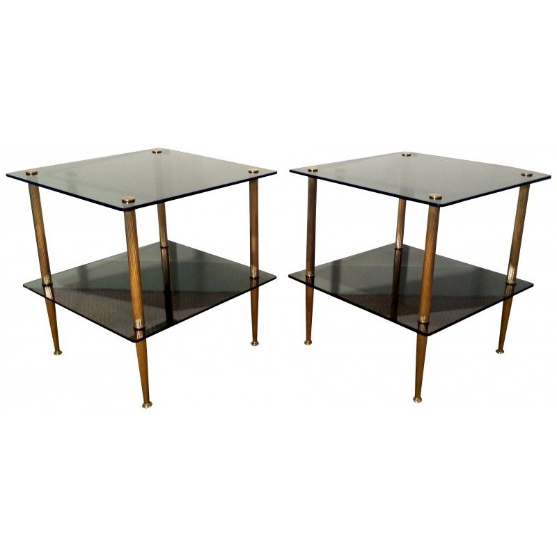 Vintage Brass & Glass Coffee Tables, 1950s, Set Of 2 For