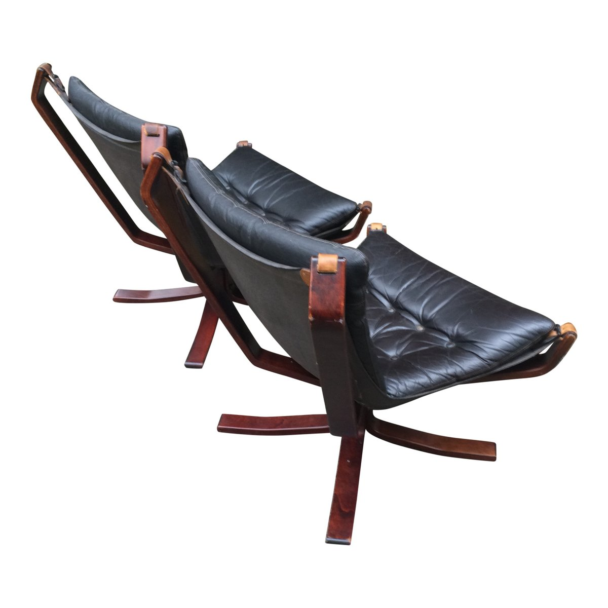 Black Leather Falcon Chair By Sigurd Ressell Set Of 2 For