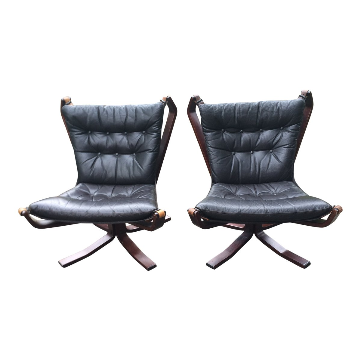 Black leather falcon chair by sigurd ressell set of 2 for for Leather kitchen chairs for sale