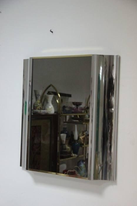 vintage spiegel aus stahl messing bei pamono kaufen. Black Bedroom Furniture Sets. Home Design Ideas