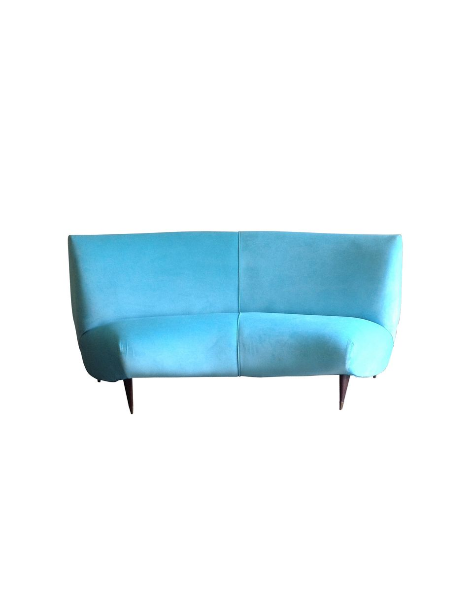 blaues vintage seiden sofa von luigi veronesi f r isa bergamo bei pamono kaufen. Black Bedroom Furniture Sets. Home Design Ideas