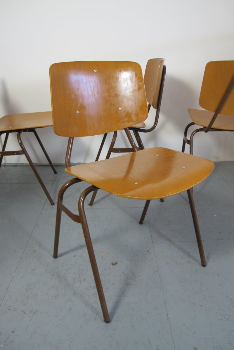 Vintage Industrial Chairs By Kho Liang Ie For Car, Set Of 4