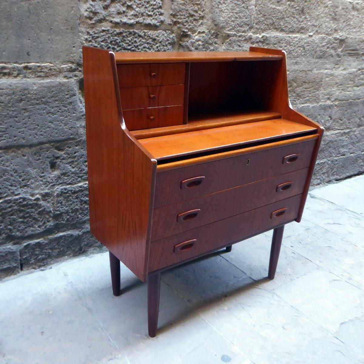 mid century teak schreibtisch sekret r 1960er bei. Black Bedroom Furniture Sets. Home Design Ideas