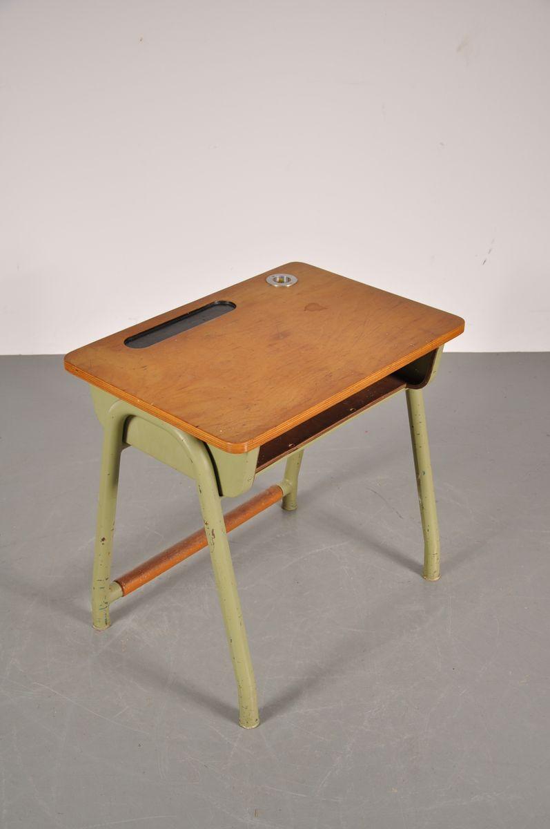 Tischplatte Ikea Holz ~  Grünem Unterbau aus Metall und Tischplatte aus Holz bei Pamono kaufen