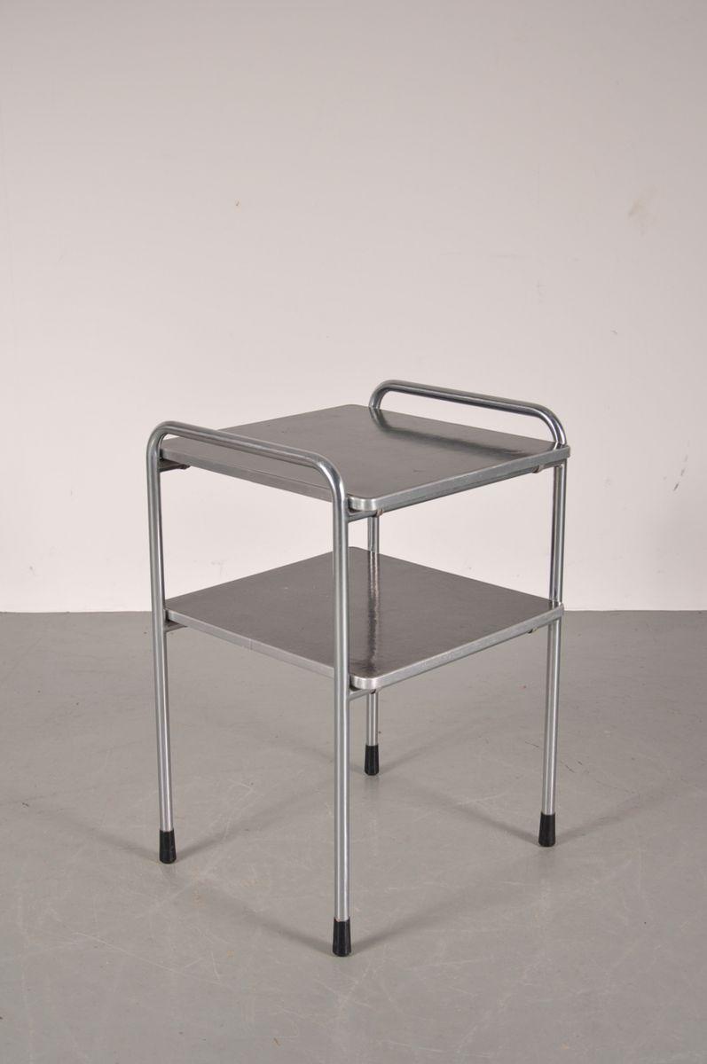 industrieller metall beistelltisch von gispen 1950er bei. Black Bedroom Furniture Sets. Home Design Ideas