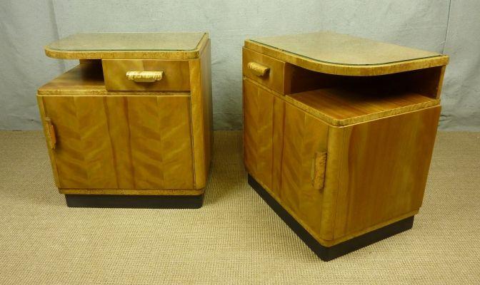 art deco nachtschr nke aus schweden 2er set bei pamono kaufen. Black Bedroom Furniture Sets. Home Design Ideas