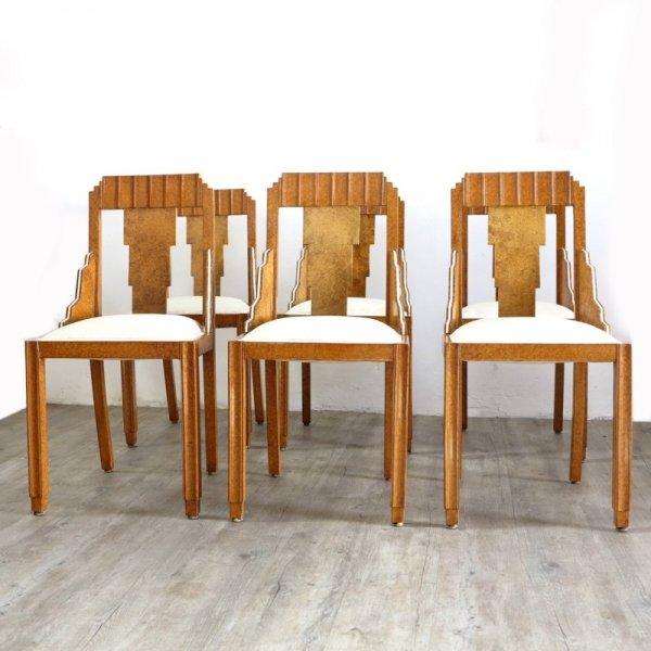 franz sische art deco st hle sechserset 1930er bei. Black Bedroom Furniture Sets. Home Design Ideas