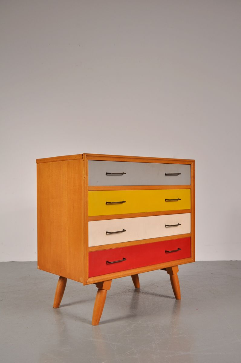 Vintage birch cabinet with coloured drawers for sale at pamono for Kitchen drawers for sale