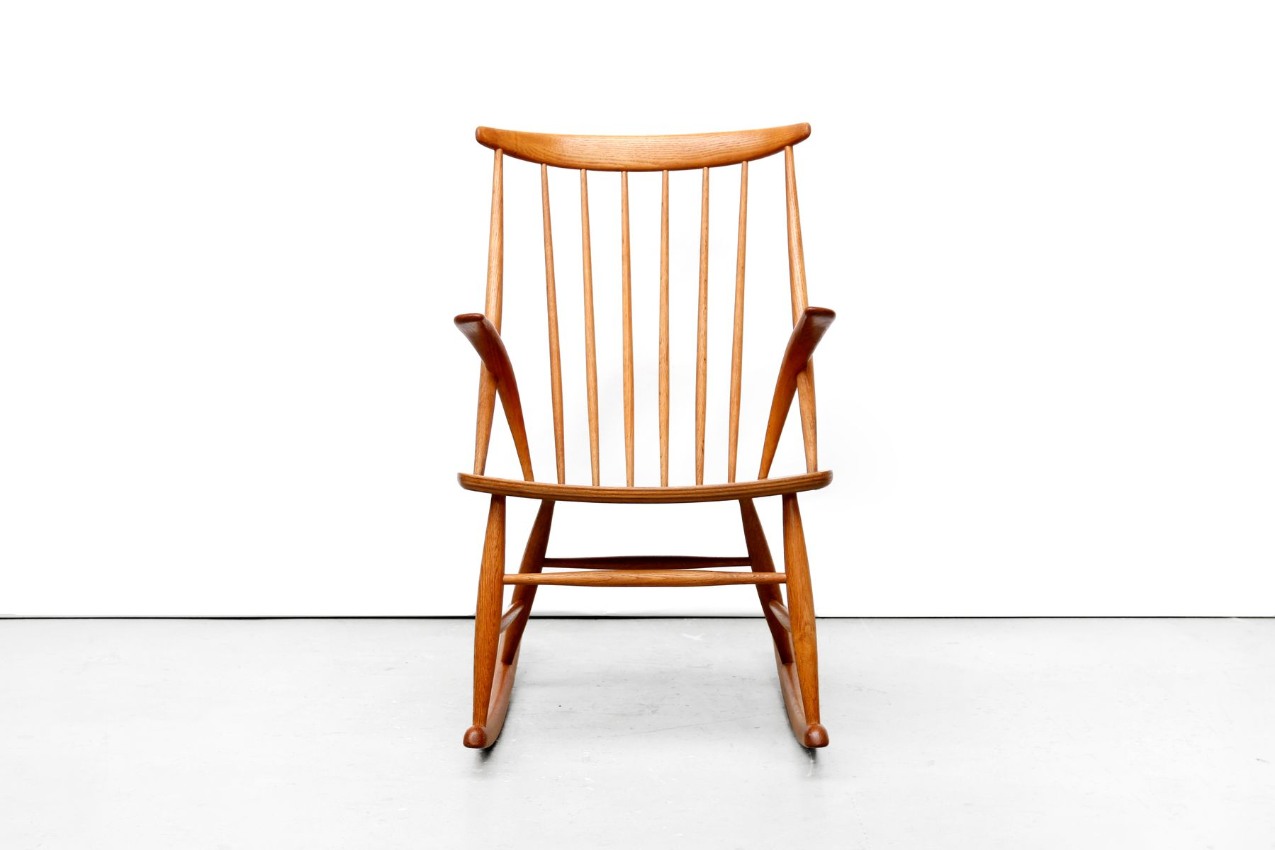 Wonderful image of Oak Rocking Chair by Illum Wikkelsø for N. Eilersen 1958 for sale at  with #3E1609 color and 1800x1200 pixels