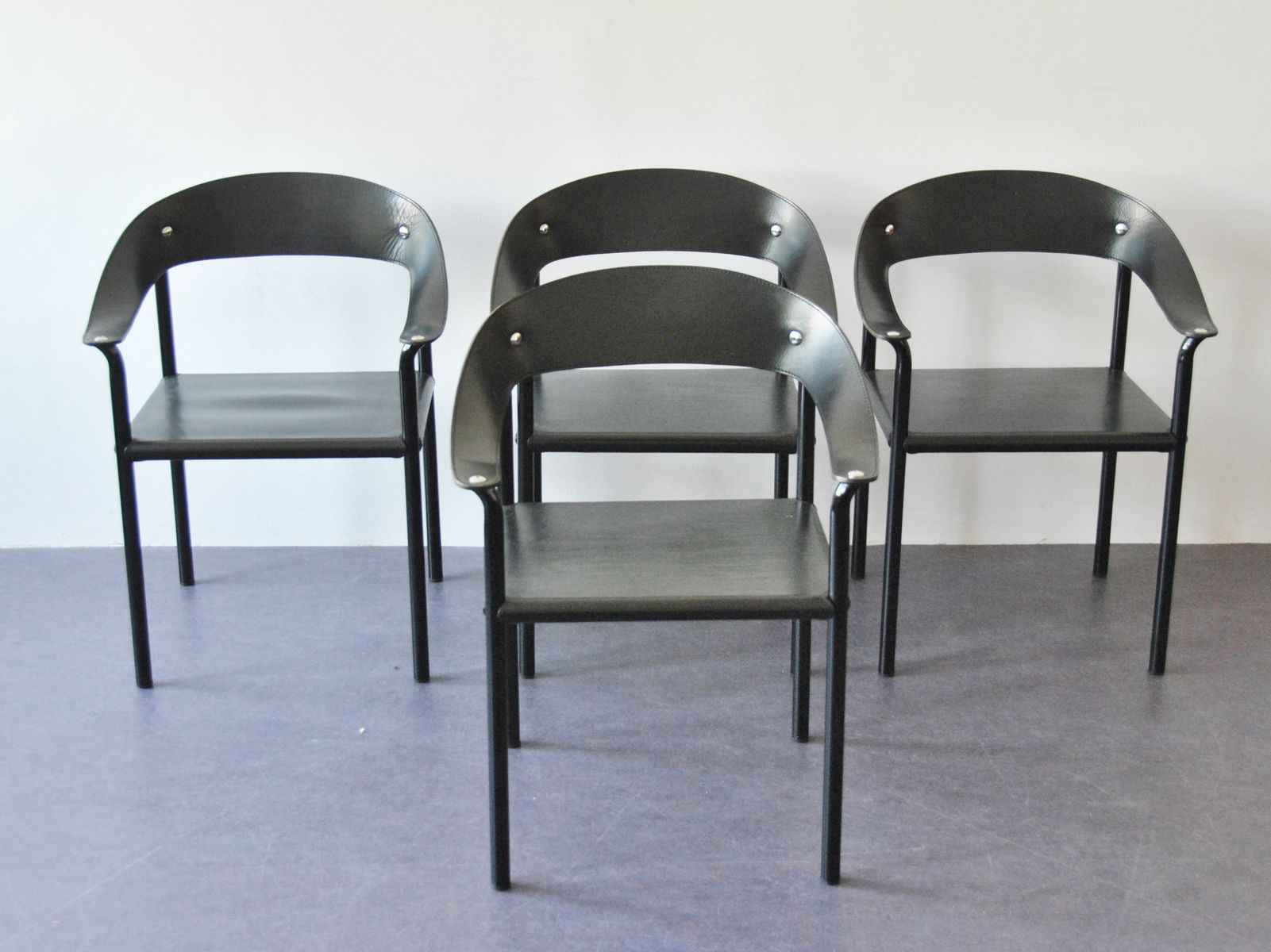 Vintage Leather And Metal Dining Chairs Set Of 4 For Sale At Pamono