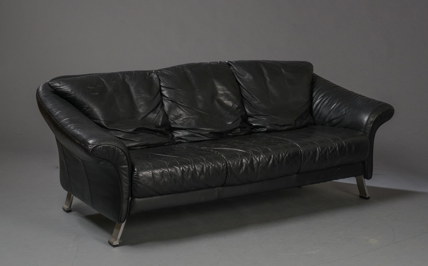 Vintage leather sofa by rolf benz for benz m belproduktion for Couch benz