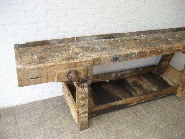 Belgische Holz Werkbank mit Schraubstock bei Pamono kaufen