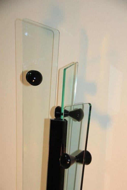 schwarze garderobe aus dickem glas und lackiertem holz bei pamono kaufen. Black Bedroom Furniture Sets. Home Design Ideas