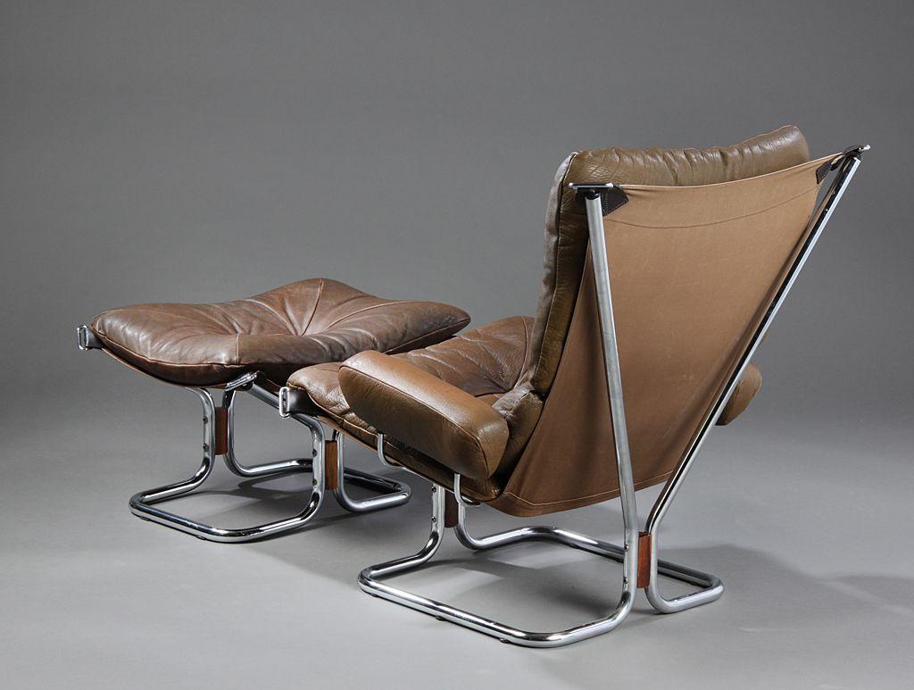 skandinavischer vintage stuhl mit fu hocker von harald. Black Bedroom Furniture Sets. Home Design Ideas