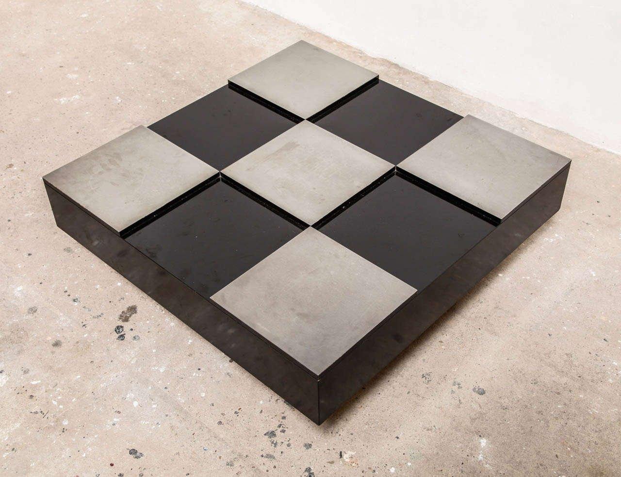 italienischer sperrholz aluminium couchtisch 1969 bei. Black Bedroom Furniture Sets. Home Design Ideas