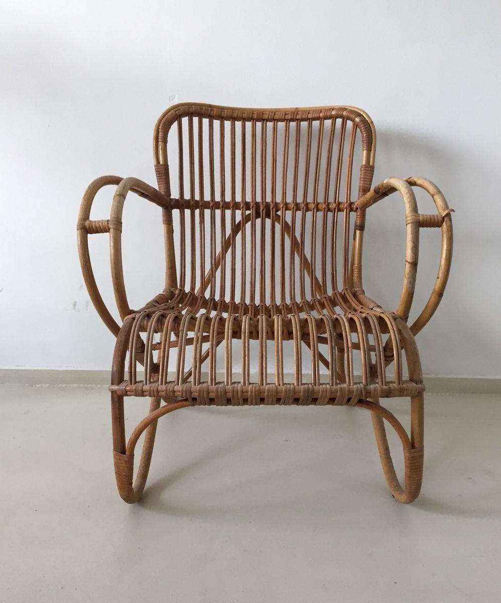 rattan lounge chair from roh noordwolde 1960s for sale. Black Bedroom Furniture Sets. Home Design Ideas
