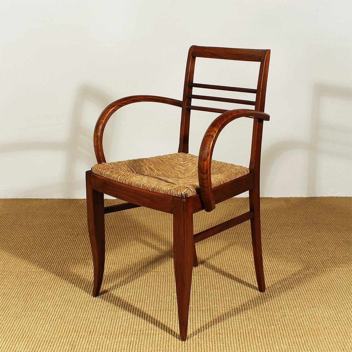 art d co bridge st hle aus eichenholz und stroh 1930er. Black Bedroom Furniture Sets. Home Design Ideas