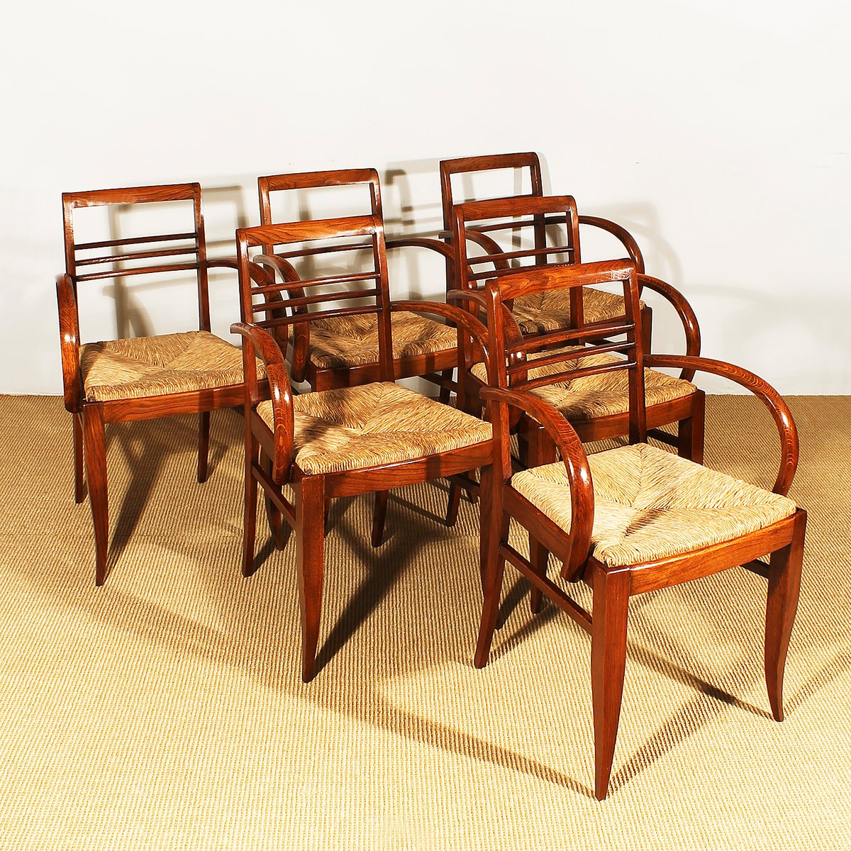 art deco bridge chairs in oak and straw 1930s set of 6 for sale at pamono