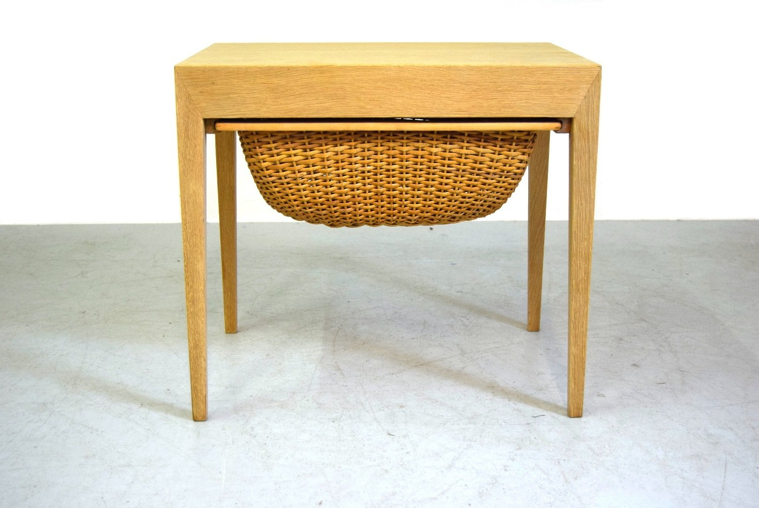 Mid Century Sewing Oak Table By Severin Hansen For Haslev . Full resolution‎  image, nominally Width 1496 Height 1000 pixels, image with #BB7A10.