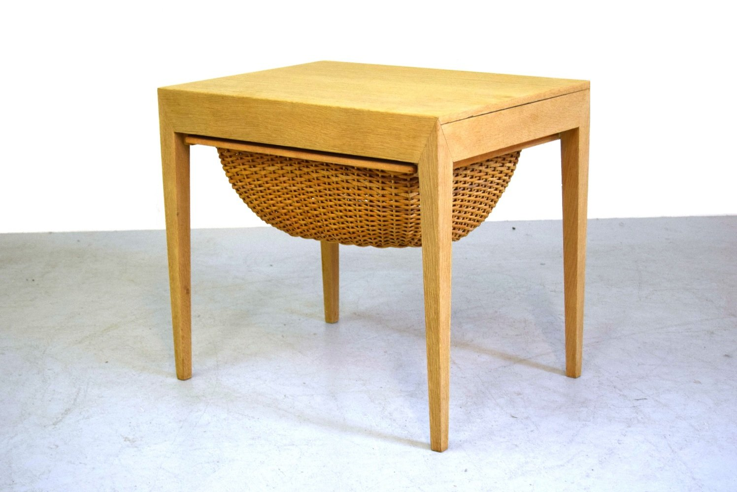 Mid Century Sewing Oak Table by Severin Hansen for Haslev