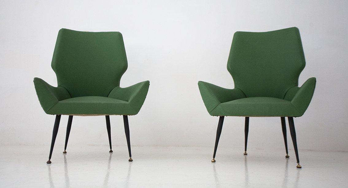 gr ne midcentury skai sessel aus italien 1950er 2er set. Black Bedroom Furniture Sets. Home Design Ideas