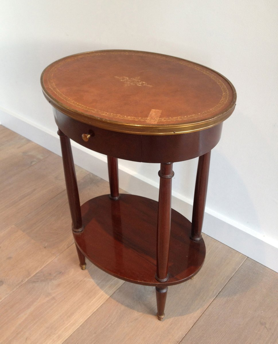 kleiner ovaler tisch mit lederplatte bei pamono kaufen. Black Bedroom Furniture Sets. Home Design Ideas