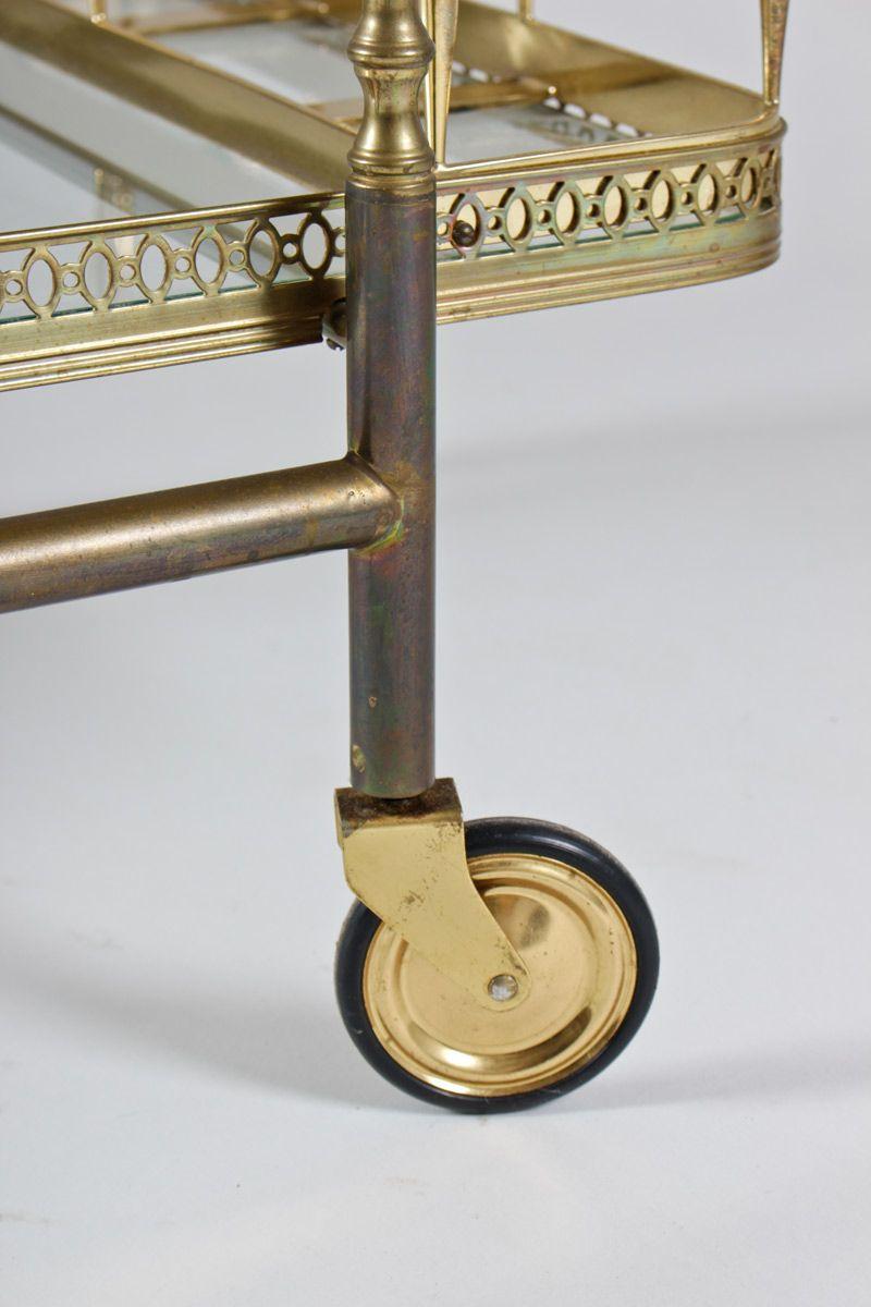 mid century messing und glas rollwagen bei pamono kaufen. Black Bedroom Furniture Sets. Home Design Ideas