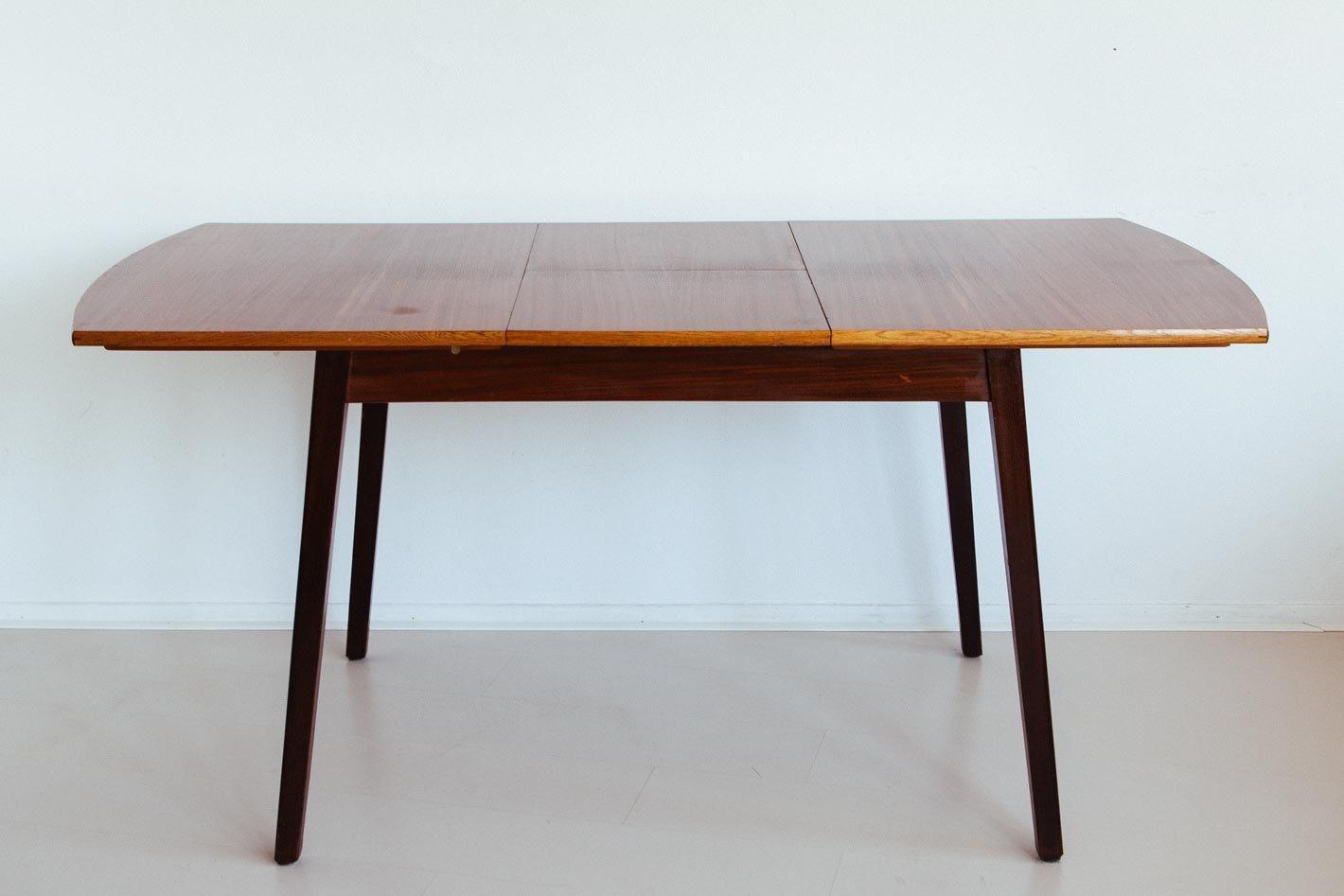 vintage holz esstisch mit erweiterbarer tischplatte bei. Black Bedroom Furniture Sets. Home Design Ideas