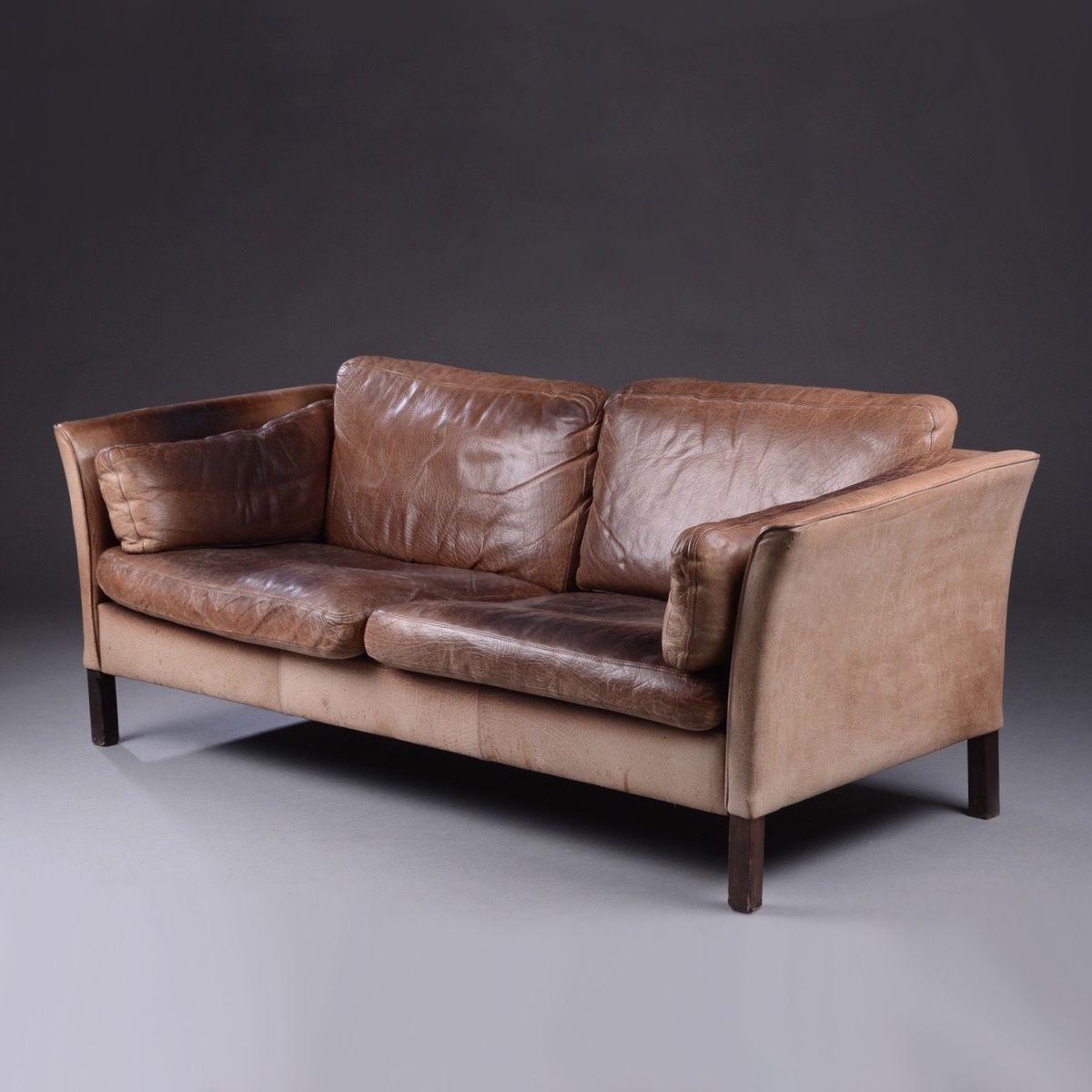 d nisches vintage ledersofa von mogens hansen bei pamono. Black Bedroom Furniture Sets. Home Design Ideas