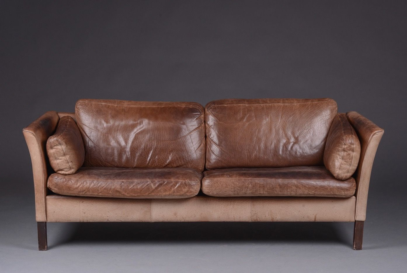 vintage danish leather sofa by mogens hansen for sale at