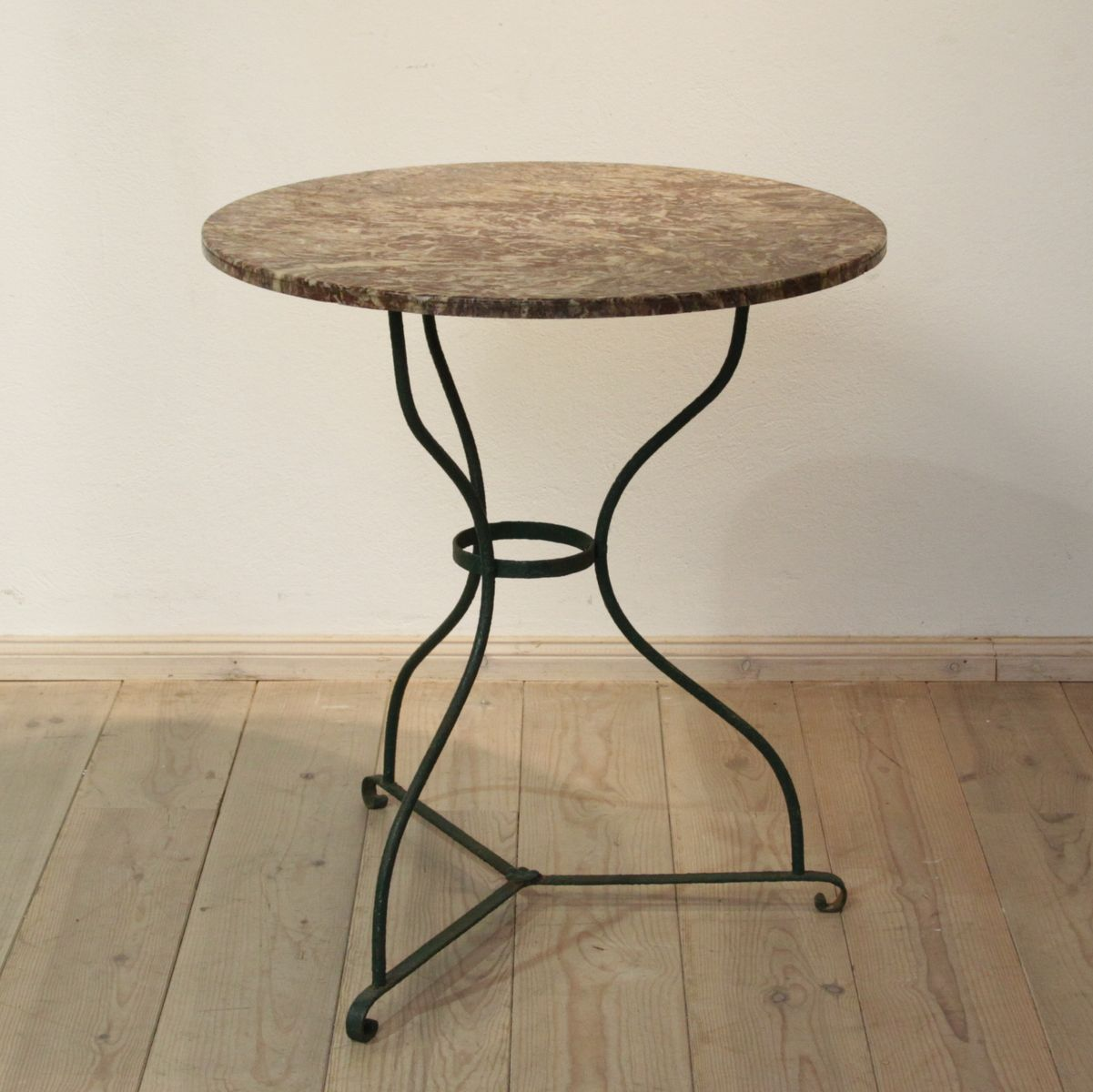 Green Antique Metal Table With Marble Tabletop For Sale At