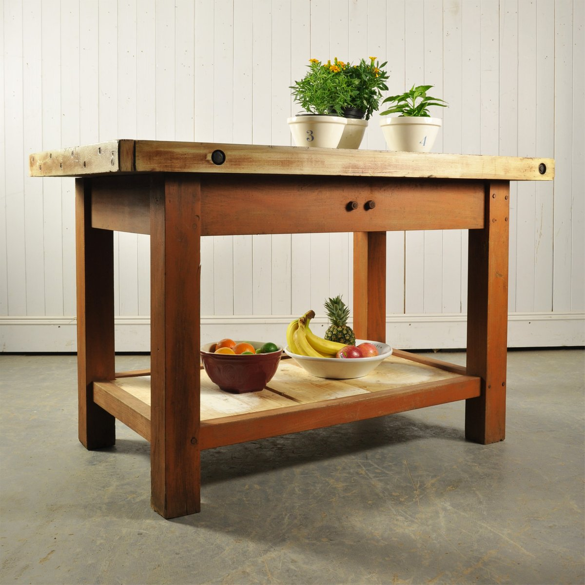 Vintage industrial oak kitchen island for sale at pamono - Industrial kitchen island for sale ...