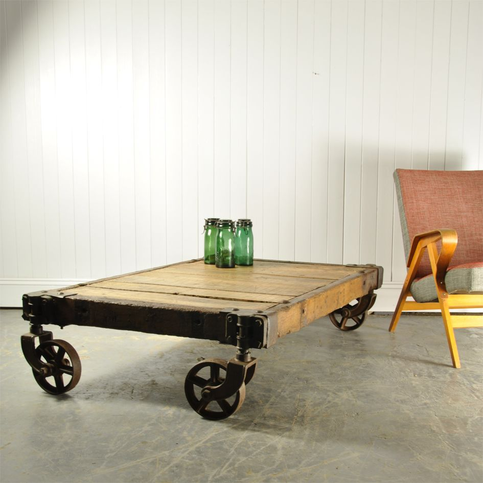 Vintage Industrial Foundry Trolley Coffee Table For Sale At Pamono