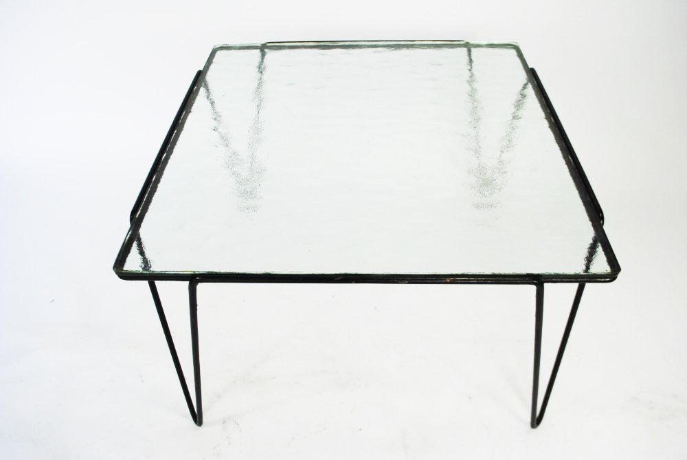 Glas und Metall Couchtisch von Arnold Bueno de Mesquita