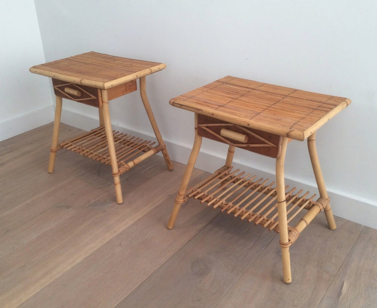 Vintage Rattan Side Tables, Set Of 2
