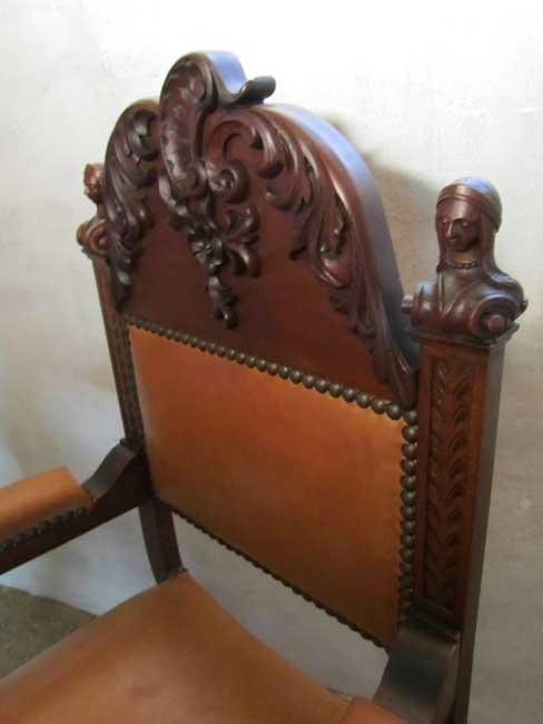 Antique carved wood leather throne chair for sale at pamono