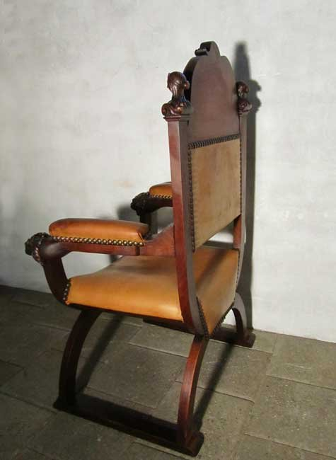 Antique Carved Wood & Leather Throne Chair for sale at Pamono