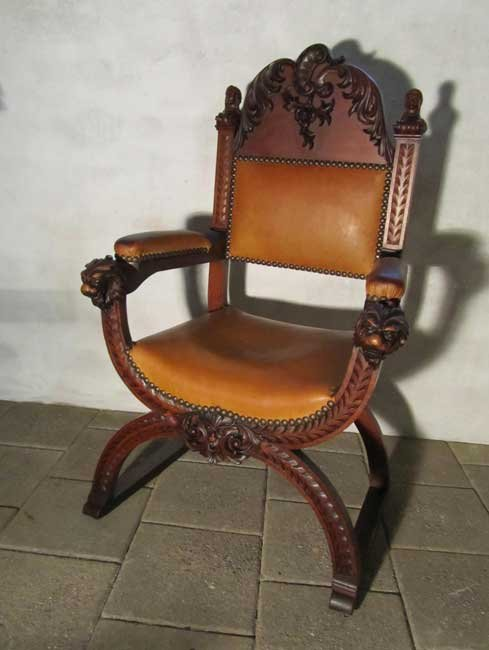 Antique Wooden Carved Chair ~ Antique carved wood leather throne chair for sale at pamono