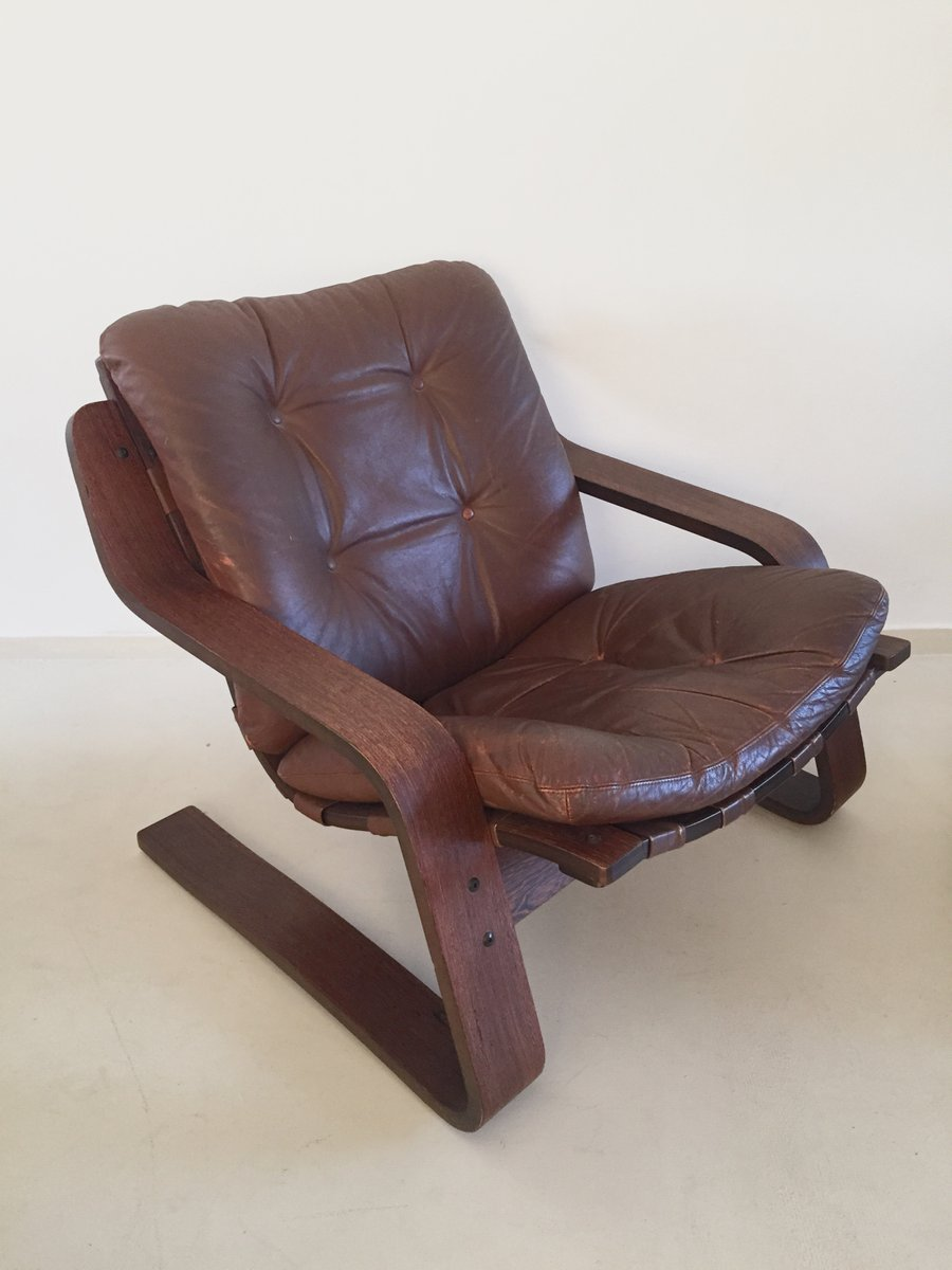 vintage leather lounge chair with plywood frame - Wood Frame Chair