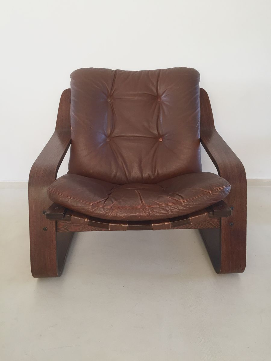 vintage leather lounge chair with plywood frame for sale. Black Bedroom Furniture Sets. Home Design Ideas
