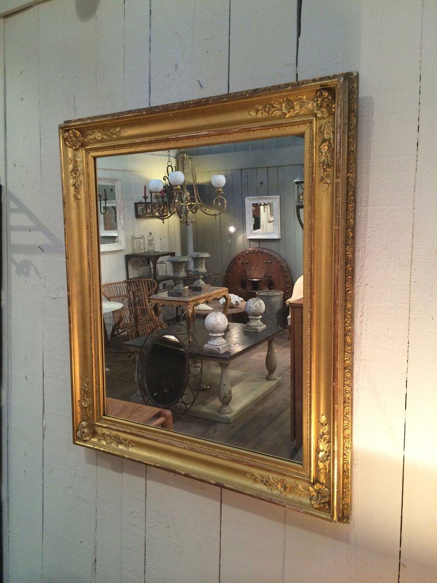 antiker vergoldeter spiegel mit holzrahmen bei pamono kaufen. Black Bedroom Furniture Sets. Home Design Ideas